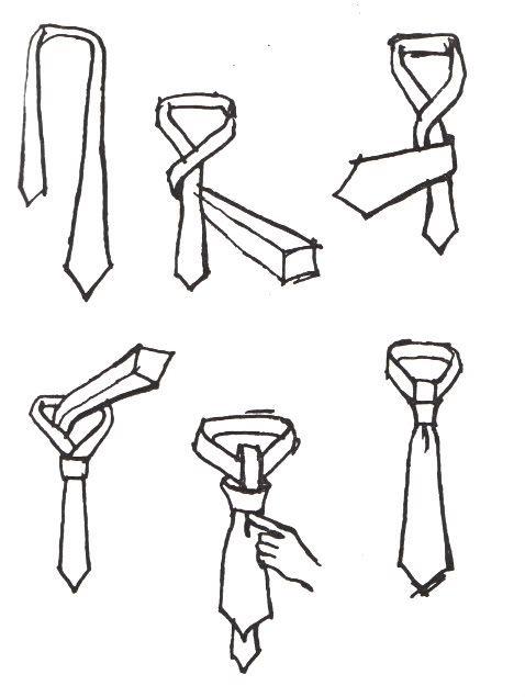 """Схема: Как завязывать узкий галстук узлом  """"Четыре в руке """" ."""